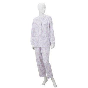 きほんのパジャマ(寝巻き) 【婦人用 L】 綿100% マジックテープ付き ズボン/前開き [介護用品] パープル(紫)