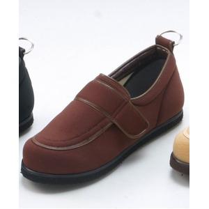 介護靴/リハビリシューズブラウンLK-1(外履き)【片足23.5cm】3E左右同形状手洗い可/撥水(歩行補助用品)日本製