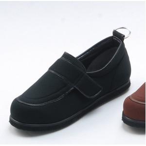 介護靴/リハビリシューズ ブラック(黒) LK-1(外履き) 【片足25.5cm】 3E 左右同形状 手洗い可/撥水 (歩行補助用品) 日本製