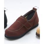 介護靴/リハビリシューズ ブラウン LK-1(外履き) 【片足25.5cm】 3E 左右同形状 手洗い可/撥水 (歩行補助用品) 日本製