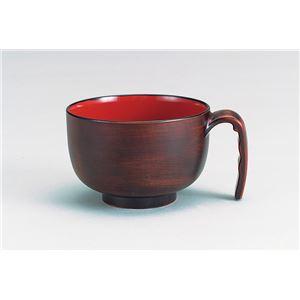 (まとめ)台和 食事用具 取っ手付き汁椀 木目 71687 HS-N30【×5セット】
