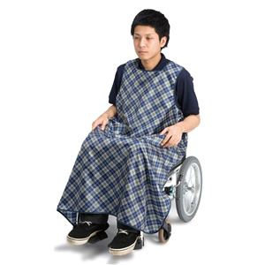 特殊衣料 食事用エプロン 食事前掛(超はっ水)車椅子用 チェックネイビー 1050