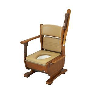 ウチヱ 木製ポータブルトイレ さわやかチェア泉II(ハネアゲ)ブラウン 8253