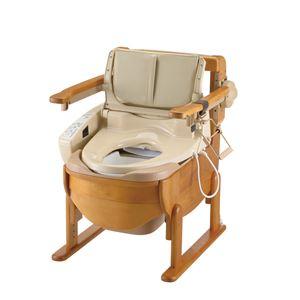 リッチェル 木製ポータブルトイレ 木製トイレきらく洗優 肘掛跳ね上げ 18501