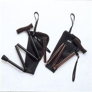 ミキステッキ(折りたたみ)アルミ製折りたたみジョイフルステツキ黒MRA-01222