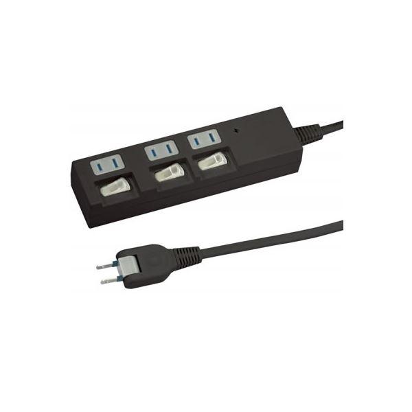 (まとめ)個別スイッチ付節電タップ 3個口 2m 黒 ヤザワ HBKS332BK【×5セット】f00