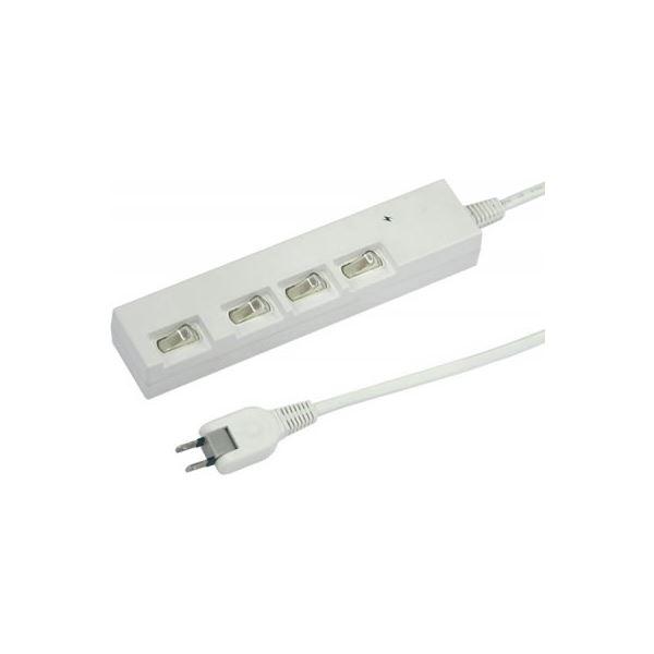 (まとめ)横差し個別スイッチ付節電タップ 4個口 2m 白 ヤザワ Y02YBKS442WH【×2セット】f00