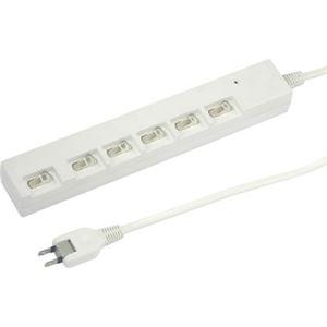 (まとめ)横差し個別スイッチ付節電タップ 6個口 2m 白 ヤザワ Y02YBKS662WH【×2セット】 h01