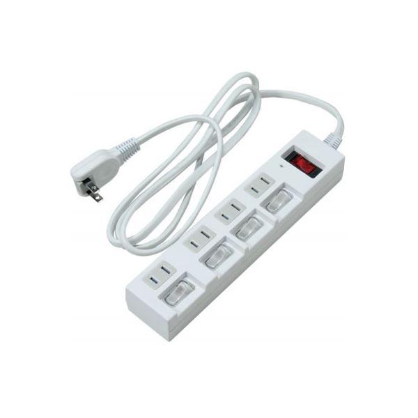 (まとめ)個別・集中スイッチ付節電タップ 4個口 2m 白 ヤザワ Y02BKS452WH【×2セット】f00