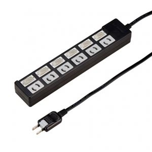 (まとめ)個別スイッチ付抜け止めタップ6個口5mブラック ヤザワ Y02KN665BK【×2セット】 h01