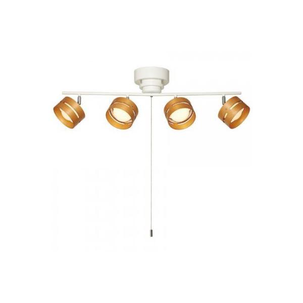おしゃれでシンプルなデザイン照明 LEDひも式4灯スポットシーリングライトWH ヤザワ CELE30L03WH