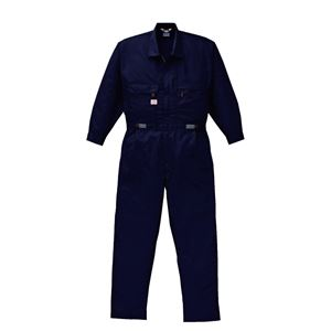 空調服 綿・ポリ混紡 長袖ツヅキ服(つなぎ服) リチウムバッテリーセット BK-500T2C03S6 ネイビー 4L