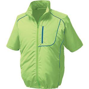 ポリエステル製半袖空調服 BP500S リチウムバッテリーセット 【カラー:ライムグリーン×ネイビー サイズ:2L】