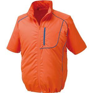 ポリエステル製半袖空調服 BP500S リチウムバッテリーセット 【カラー:オレンジ×ネイビー サイズ:M】