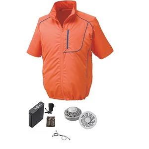 ポリエステル製半袖空調服 BP500S リチウムバッテリーセット 【カラー:オレンジ×ネイビー サイズ:XL】