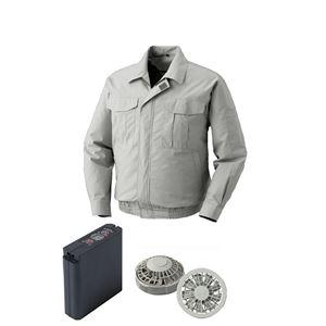 空調服綿薄手ワーク空調服大容量バッテリーセットファンカラー:グレー0550G22C06S7【カラー:シルバーサイズ:5L】