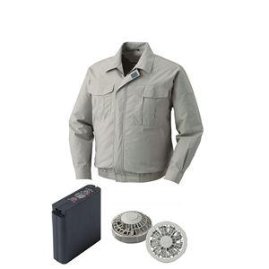 空調服綿薄手ワーク空調服大容量バッテリーセットファンカラー:グレー0550G22C17S3【カラー:モスグリーンサイズ:L】
