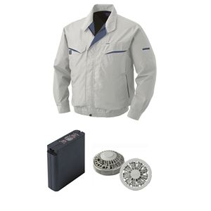 空調服 綿・ポリ混紡ワーク空調服 大容量バッテリーセット ファンカラー:グレー 0470G22C06S5 【カラー:シルバー サイズ:XL】