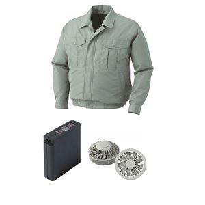 空調服 ポリエステル製ワーク空調服 大容量バッテリーセット ファンカラー:グレー 0540G22C07S3 【カラー:モスグリーン サイズ:L】