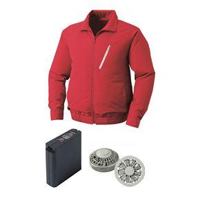 空調服ポリエステル製空調服大容量バッテリーセットファンカラー:グレー0510G22C08S3【カラー:レッドサイズ:L】