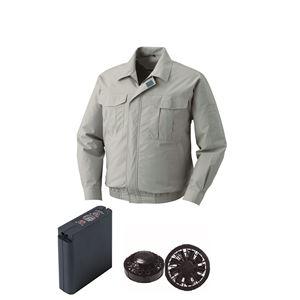 空調服綿薄手ワーク空調服大容量バッテリーセットファンカラー:ブラック0550B22C17S4【カラー:モスグリーンサイズ:2L】