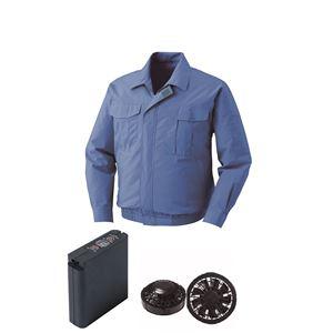 空調服綿薄手ワーク空調服大容量バッテリーセットファンカラー:ブラック0550B22C24S7【カラー:ライトブルーサイズ:5L】