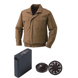 空調服 綿薄手タチエリ空調服 大容量バッテリーセット ファンカラー:ブラック 1400B22C20S5 【カラー:キャメル サイズ:XL 】