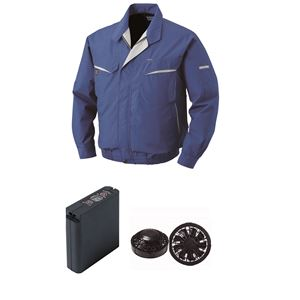 空調服 綿・ポリ混紡ワーク空調服 大容量バッテリーセット ファンカラー:ブラック 0470B22C04S1 【カラー:ブルー サイズ:S 】