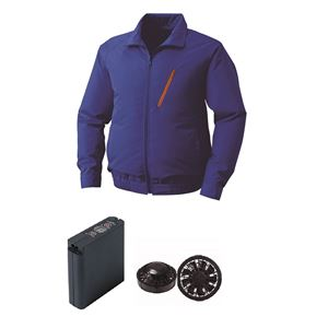 空調服 ポリエステル製空調服 大容量バッテリーセット ファンカラー:ブラック 0510B22C04S7 【カラー:ブルー サイズ:5L 】
