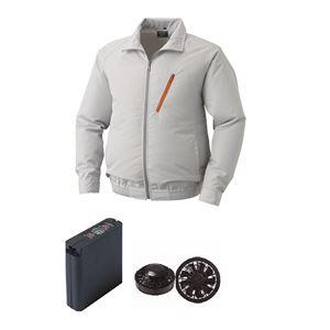 空調服 ポリエステル製空調服 大容量バッテリーセット ファンカラー:ブラック 0510B22C06S7 【カラー:シルバー サイズ:5L 】