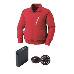 空調服 ポリエステル製空調服 大容量バッテリーセット ファンカラー:ブラック 0510B22C08S4 【カラー:レッド サイズ:2L 】