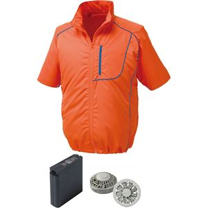 ポリエステル製半袖空調服 大容量バッテリーセット ファンカラー:シルバー 1720G22C30S4 【ウエアカラー:オレンジ×ネイビー LL】