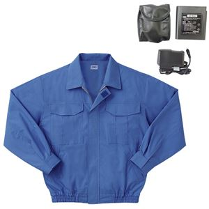 空調服 綿薄手長袖作業着 M-500U 【カラーライトブルー: サイズ4L】 リチウムバッテリーセット