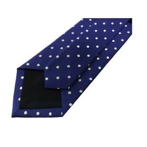 EARLY AMERICAN 手縫いネクタイ ブルー 水玉 h03