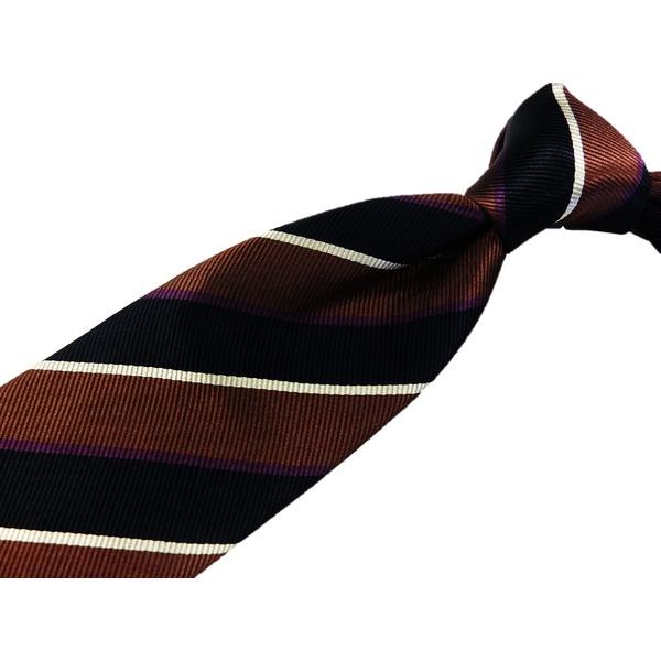 EARLY AMERICAN 手縫いネクタイ ストライプ ブラウンf00