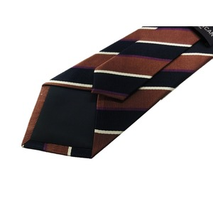 EARLY AMERICAN 手縫いネクタイ ストライプ ブラウン h03