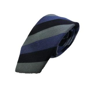 ウール混秋冬シルクネクタイ Clarkプレミアム 手縫い仕立て 西陣ネクタイ ネイビー×グレーブルーストライプ