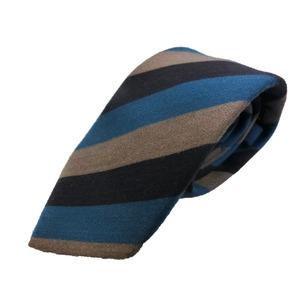 ウール混秋冬シルクネクタイ Clarkプレミアム 手縫い仕立て 西陣ネクタイブルー×グレーストライプ