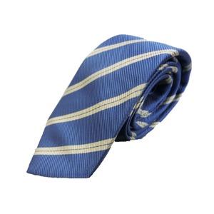 秋冬シルクネクタイ Clarkプレミアム 手縫い仕立て 西陣ネクタイ メランジブルー×ストライプ