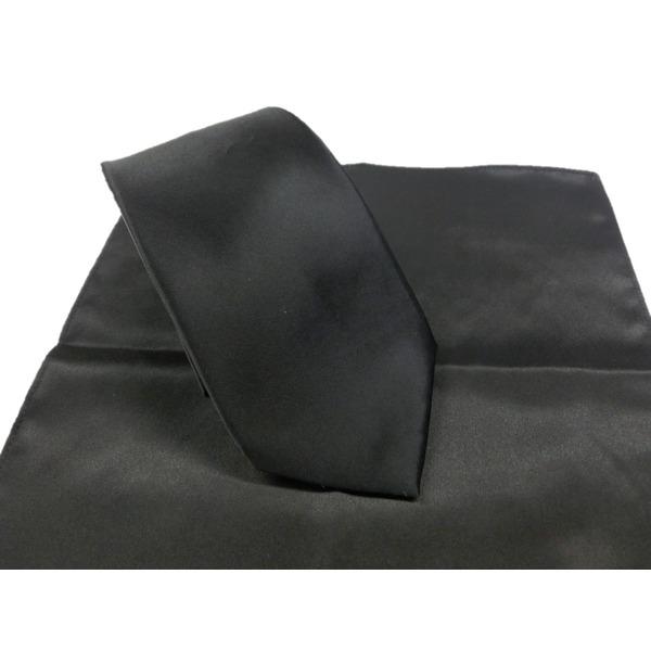 希少限定生地 シルクネクタイ&チーフセット Clarkプレミアム 手縫い仕立て 西陣ネクタイ サテン ブラック f00