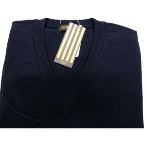 イタリア製 SIMONE DELLANNA EXTRA FINE MARINO WOOLVネックセーター ネイビー L