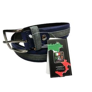 イタリア製レザーハンドメイドベルト ツートン仕様 ブルー