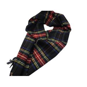 新作 英国製 Made in Scotland カシミヤ100%マフラー Black Stewart