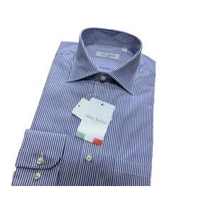 イタリア製コットンドレスシャツ ブルーストライプ L