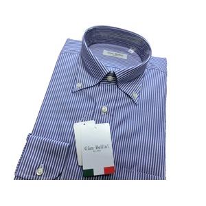イタリア製コットンドレスシャツ ブルーストライプ大 L - 拡大画像