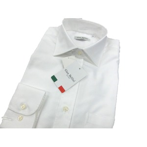 イタリア製コットンドレスシャツ ホワイトオックス M - 拡大画像