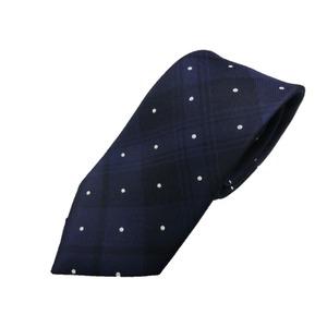 新春モデル 日本製シルク100%ネクタイ ネイビーチェック×水玉