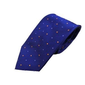 新春モデル 日本製シルク100%ネクタイ ブルー×水玉