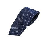 日本製シルク100%ネクタイ ネイビー×小柄