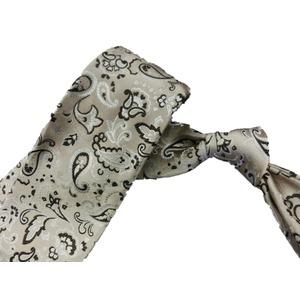 日本製シルク100%ネクタイ ベージュ×ペイズリー